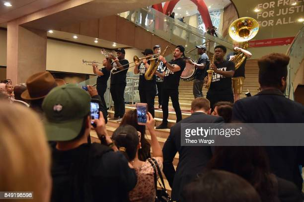 Funky Dawgs Brass Band performs during Global Citizen Live at NYU Skirball Center on September 18 2017 in New York City