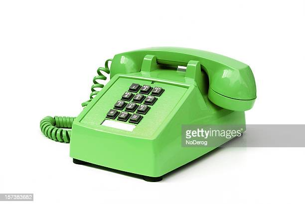 Funky green vintage pushbutton phone