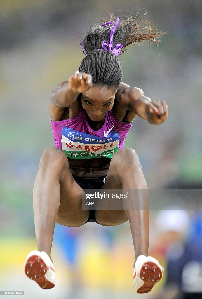 Funmi Jimoh of the US competes in the women's long jump event of the Daegu Pre-Championships Meeting in Daegu, southeast of Seoul, on May 19, 2010. Jimoh took first place after jumping 6.68 m.