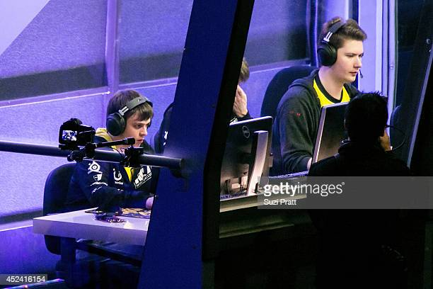 Funn1k and Puppey of Natus Vincere compete at The International DOTA 2 Championships at Key Arena on July 19 2014 in Seattle Washington