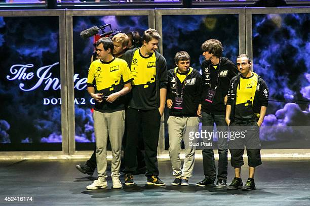 Funn1k Dendi Puppey Kuroky and XBOCT of Natus Vincere compete at The International DOTA 2 Championships at Key Arena on July 19 2014 in Seattle...