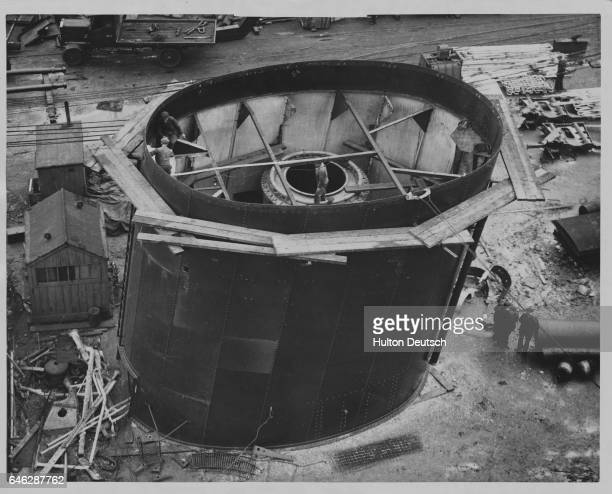A funnel of the Alcantara a motor ship that is being converted to a steam turbine driven vessel is enlarged