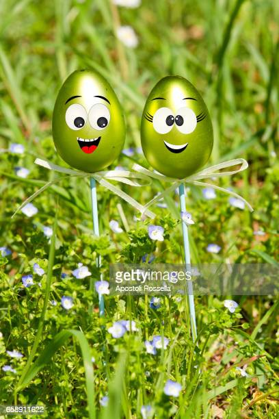 funny Easter eggs in the grass