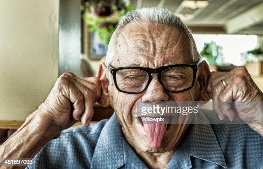 Funny Elderly Man Goofy Mug Shot