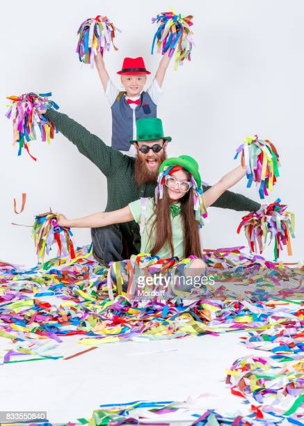 Funny Entertainment With Colorful Ribbons On Children's Holiday