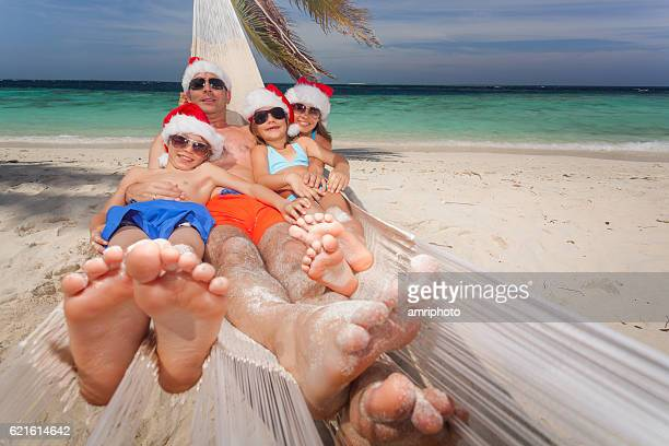 funny family merry christmas tropical island