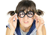 funny girl in thick lens glasses