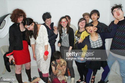 funny group shot in studio : Bildbanksbilder