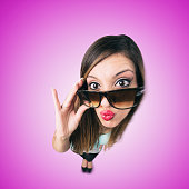 Funny Kissing Girl with Sunglasses looks like caricature of herself, fish eye lens shot..