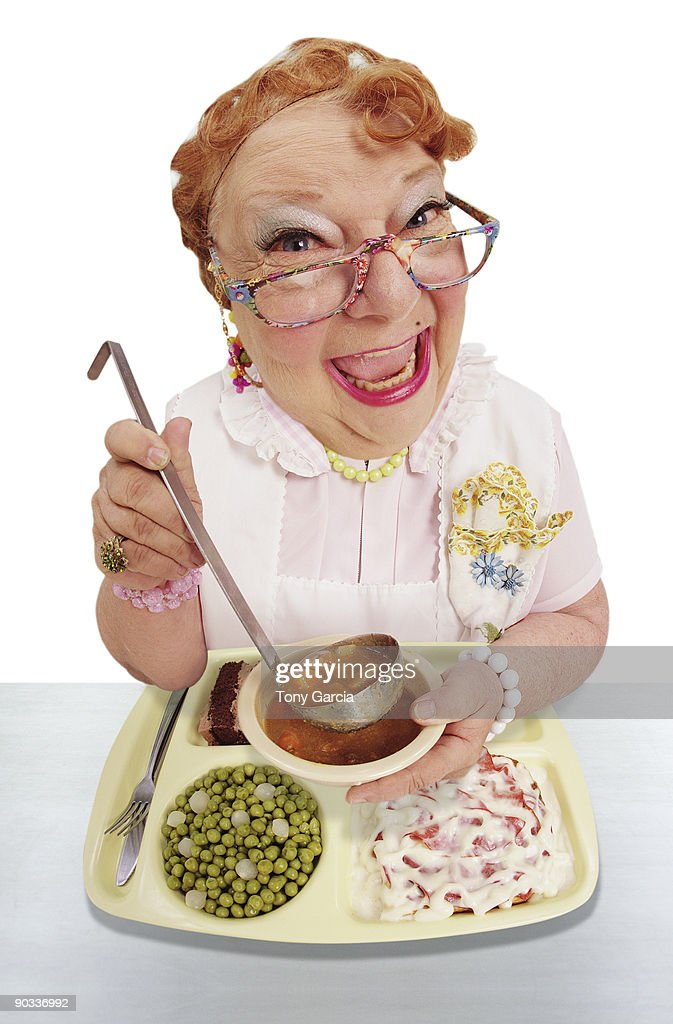 Funny Lunch Lady. : Stock Photo