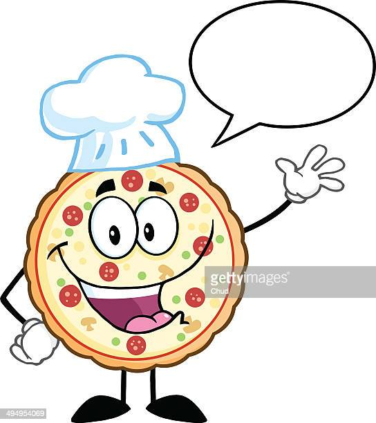 Funny Pizza Chef Waving With Speech Bubble