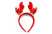 Funny Santa reindeer headband horns isolated on white background.