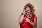 Drag queen. Funny fat man and make-up.