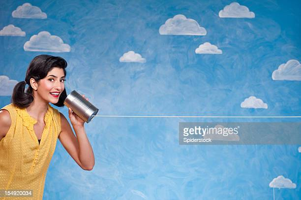 Funny Woman With Tin Can Telephone