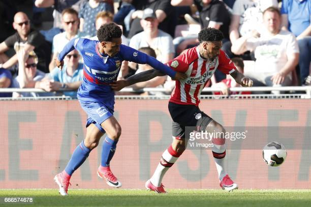 Funso Ojo of Willem II Jurgen Locadia of PSVduring the Dutch Eredivisie match between PSV Eindhoven and Willem II Tilburg at the Phillips stadium on...