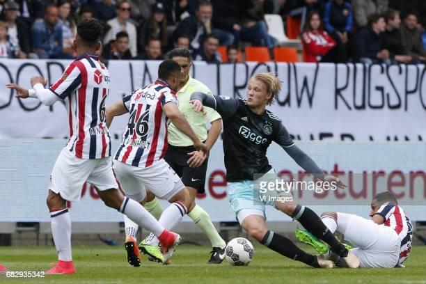 Funso Ojo of Willem II Pele van Anholt of Willem II Kasper Dolberg of Ajaxduring the Dutch Eredivisie match between Willem II Tilburg and Ajax...