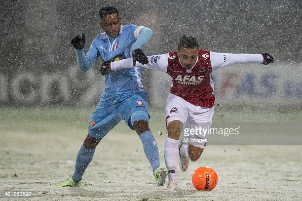 FunsoKing Ojo of FC Dordrecht Muamer Tankovic of AZ Alkmaar during the Dutch Eredivisie match between AZ Alkmaar and FC Dordrecht at AFAS stadium on...