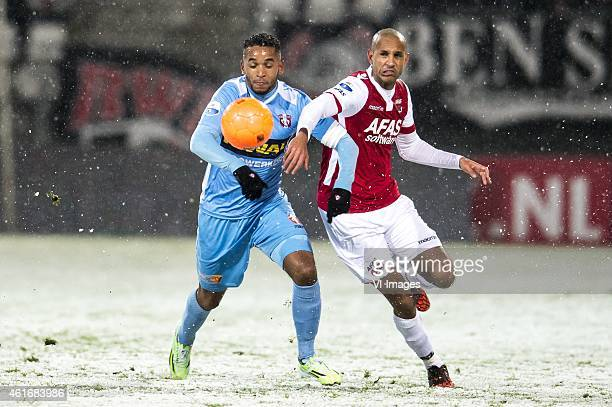 FunsoKing Ojo of FC Dordrecht Simon Poulsen of AZ Alkmaar during the Dutch Eredivisie match between AZ Alkmaar and FC Dordrecht at AFAS stadium on...