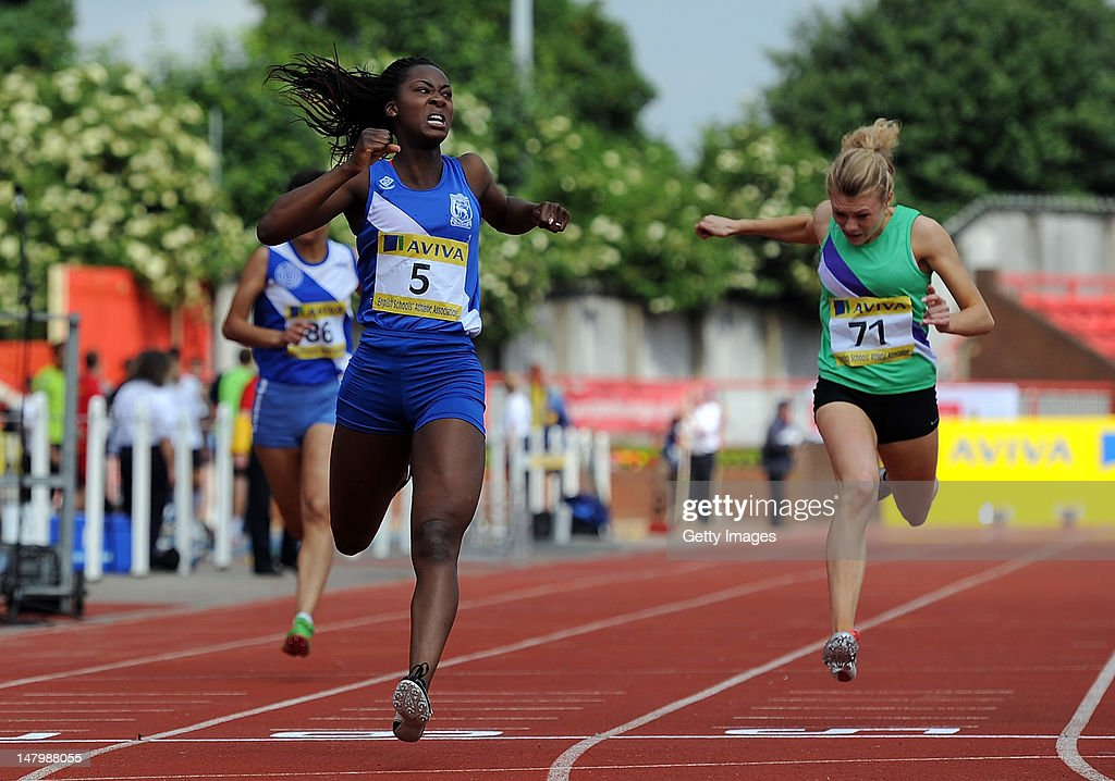 Funto Fabunmi-Alade of Berkshire crosses the line to win the Senior Girls 200 Metres during Day 2 of the Aviva English Schools Track & Field Championships at the Gateshead International Stadium on July 7 in Gateshead, England. Search Aviva Athletics on Facebook to Back the Team.