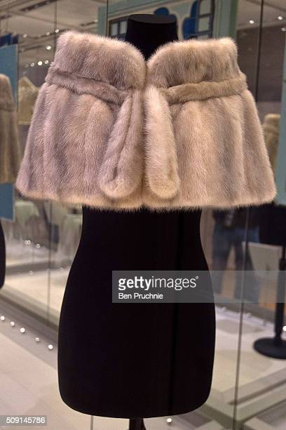 A fur coat by Norman Rogul as worn by Princess Margaret is displayed at the Fashion Rules Exhibition at Kensington Palace on February 9 2016 in...