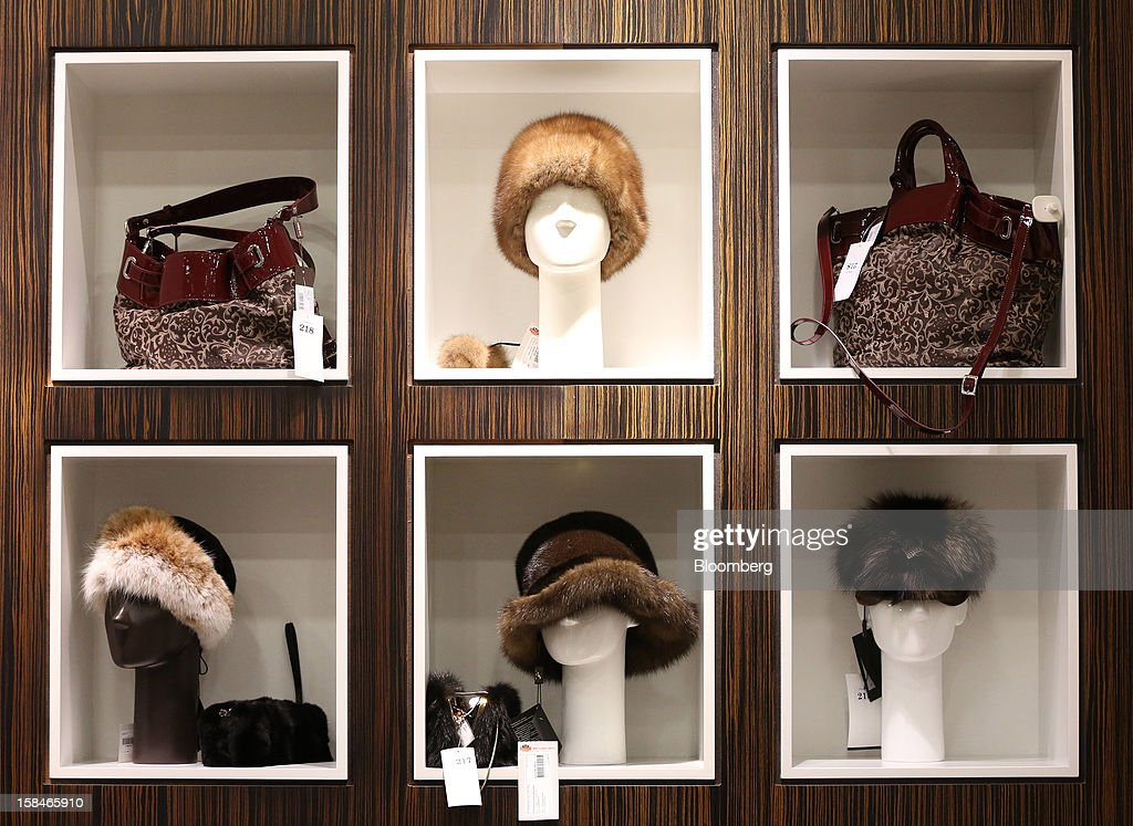 Fur hats stand on display at the World of Fur and Leather store in Moscow, Russia, on Sunday, Dec. 16, 2012. Russia's government should introduce a tax on luxury consumption in first half of 2013, President Vladimir Putin said in state-of-the-nation address in Moscow. Photographer: Andrey Rudakov/Bloomberg via Getty Images