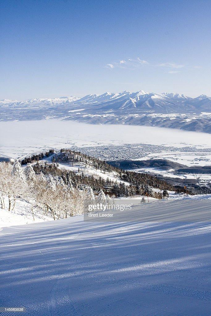Furano and daisetsuzan range in winter : Stock Photo