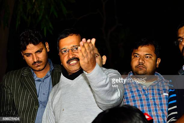 Furious Delhi Chief Minister Arvind Kejriwal addresses media on CBI raid at the office of his Principal Secretary on December 12 2015 in New Delhi...