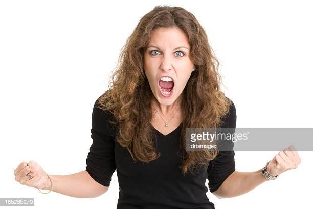Furioso joven mujer pateando