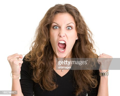 Furious Screaming Young Woman
