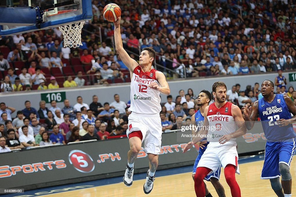 Furkan Korkmaz (L) of Turkey in action during a friendly match between Philippines and Turkey friendly match at Mall of Asia Arena (MOA) in Pasay, Philippines on July 01, 2016.