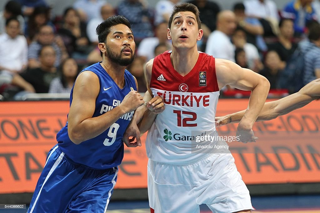 Furkan Korkmaz (R) of Turkey in action during a friendly match between Philippines and Turkey friendly match at Mall of Asia Arena (MOA) in Pasay, Philippines on July 01, 2016.
