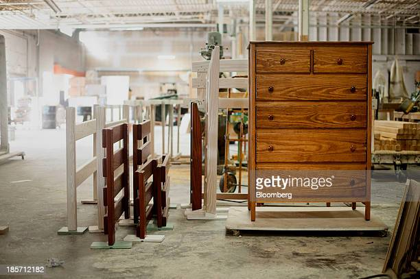 Furniture and bunk bed railing sits in the warehouse at the Bunk Loft Factory in Columbus Ohio US on Friday Oct 4 2013 The US Census Bureau is...