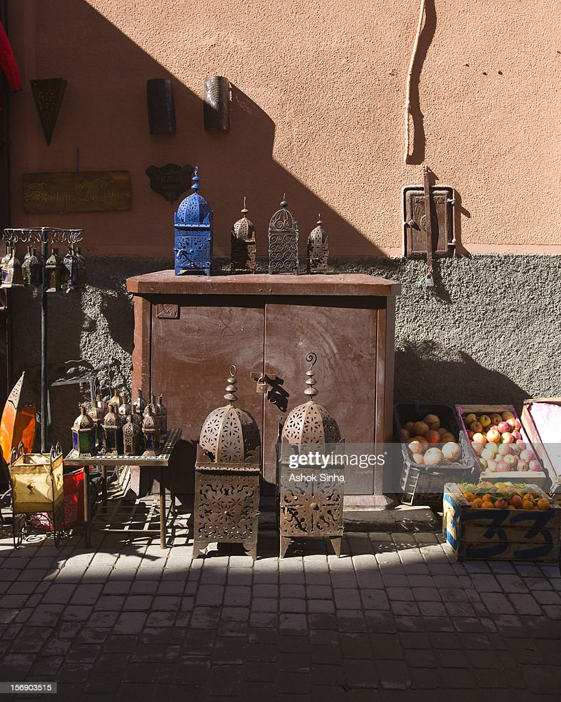 Furniture and fruit for sale. : Stock Photo
