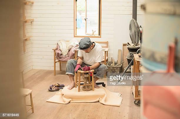 Furniture craftsman making a furniture