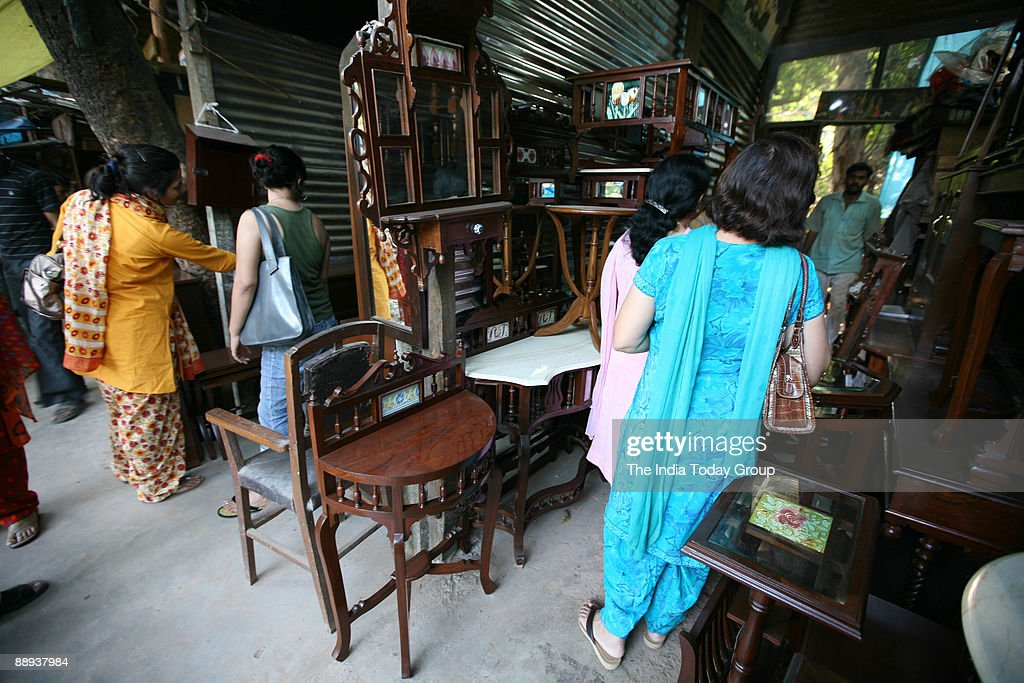 Perfect Furniture Market At Amar Colony In New Delhi, India.