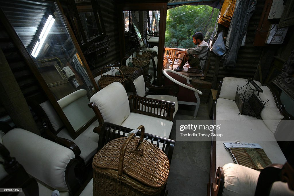 Furniture Market at Amar Colony in New Delhi India. Pictures