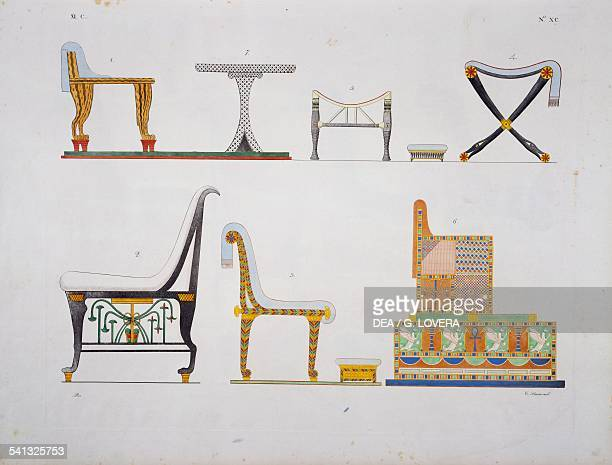Furniture thrones and beds of various kinds Plate XC from The monuments of Egypt and Nubia civil monuments 18321844 by Ippolito Rosellini