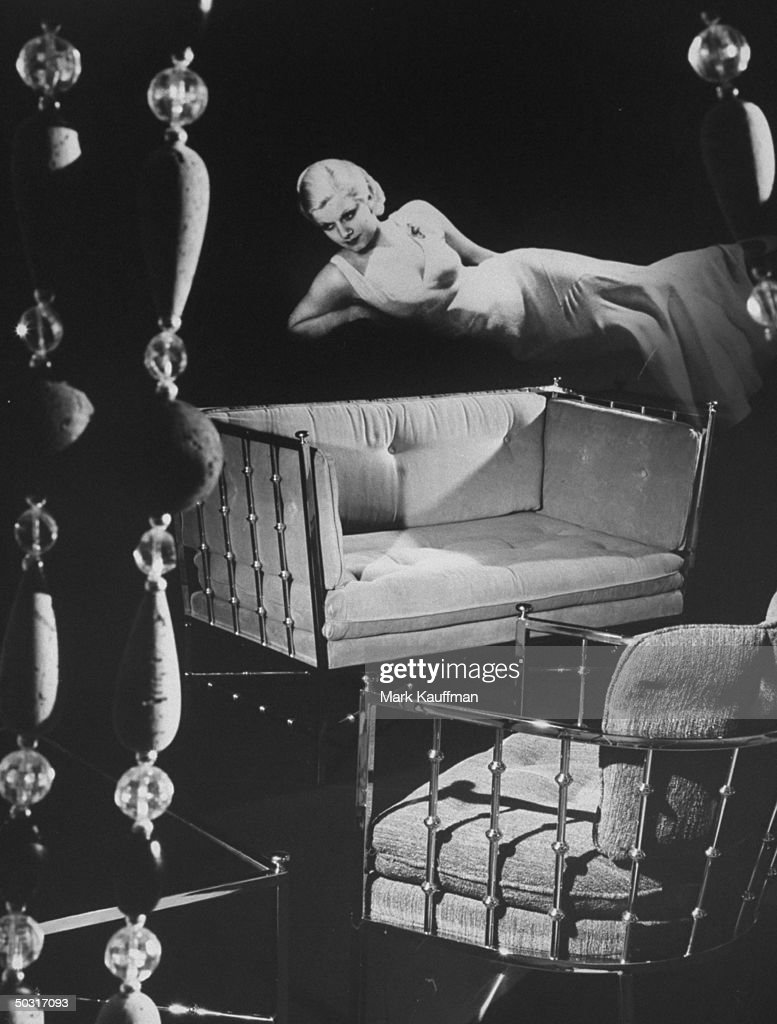 Furniture typical of 1920's & 1930's on composite photo with Jean Harlow, movie star of same era.