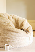 Furry Beanbag With Book and Coffee Cup