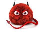 Furry red devil with tail and horns. Cartoon character..Digitally generated 3D image. Isoilated on white background.