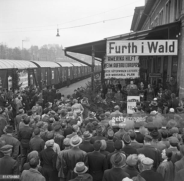 Furth In Wald Germany The Marshall Plan Delivers Murray D Van Wagoner military Government offcial speaks at railroad Station near the Czech border...