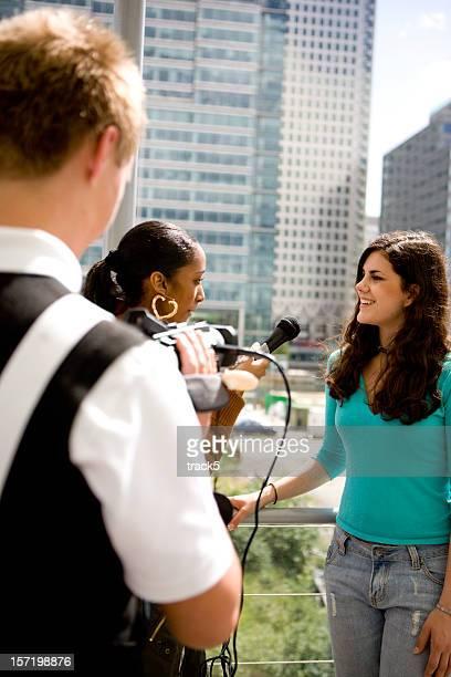 teenage Studenten: Praktische media-studies