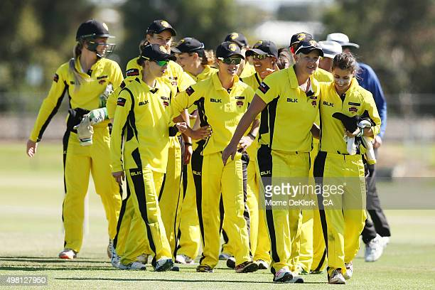 Fury players celeberate after winning the game during the WNCL match between Tasmania and Western Australia at Park 25 on November 21 2015 in...