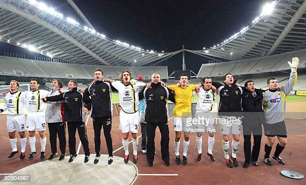Fusball UEFA Pokal 04/05 Athen AEK Athen Alemannia Aachen 02 Schlussjubel Alemannia Aachen 151204