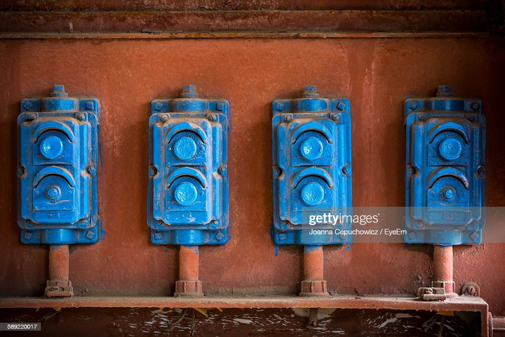 fuse boxes on wall at old factory picture id589220017?s=612x612 old fuse box stock photos and pictures getty images Old Fuse Box Parts at gsmx.co