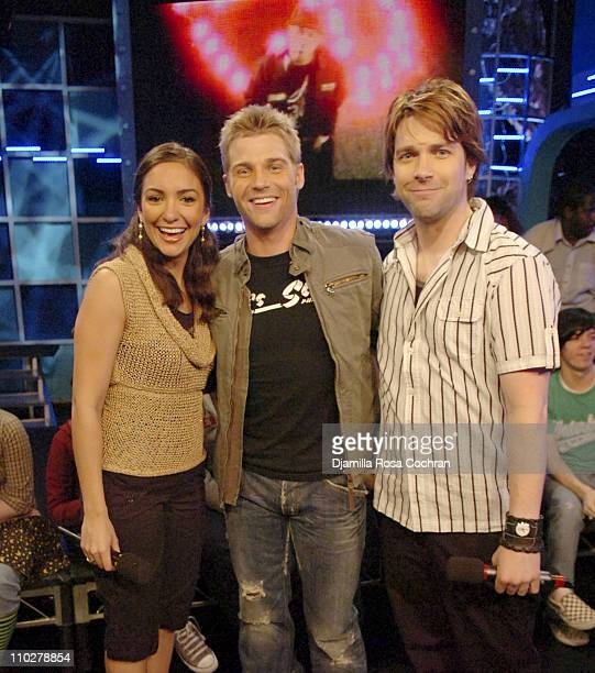 Fuse VJ Marianela Mike Vogel and Fuse VJ Steven during Fuse Daily Downloads with Samaire Armstrong and Mike Vogel at FUSE Studios in New York City...