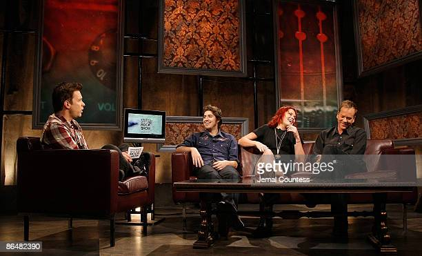 Fuse VJ Steven with musicians Ben Jaffe and Suzanne Santo of the band 'Honey Honey' and Actor Kiefer Sutherland during a visit to fuse's 'Steven's...