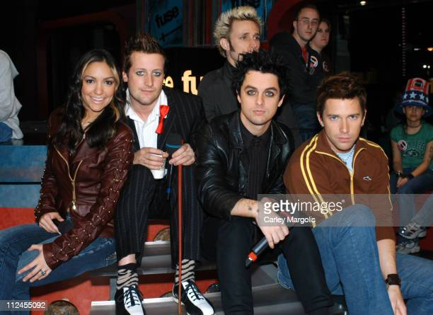 Fuse VJs Marianela and Steven with Tre Cool Billie Joe Armstrong and Mike Dirnt of Green Day