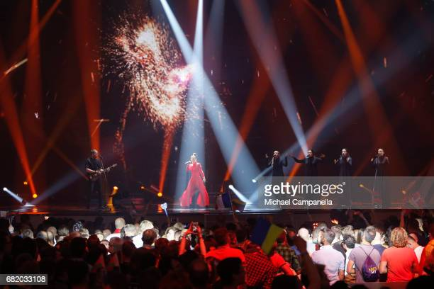 Fusedmarc representing Lithuania performs the song 'Rain of Revolution' during the second semi final of the 62nd Eurovision Song Contest at...