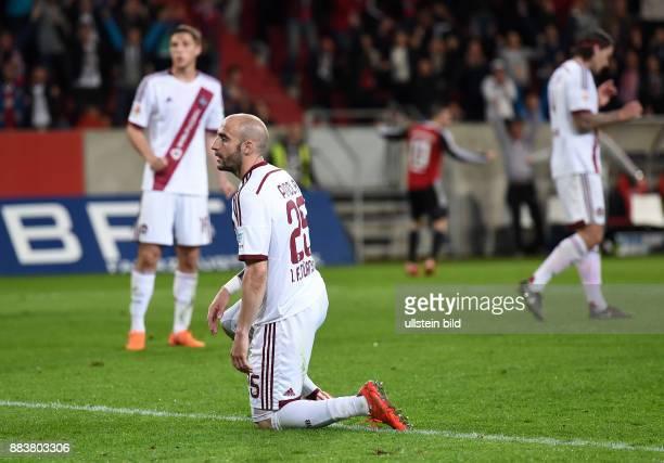 Fussball 2 Bundesliga Saison 2014/2015 31 Spieltag FC Ingolstadt 1 FC Nuernberg Javier Pinola enttaeuscht am Boden nach seinem Eigentor zum 10